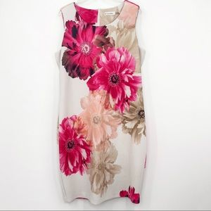 Calvin Klein Floral Sheath Scuba Sleeveless Dress Sz 16